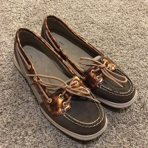Sperry brown and bronze loafers size 8M